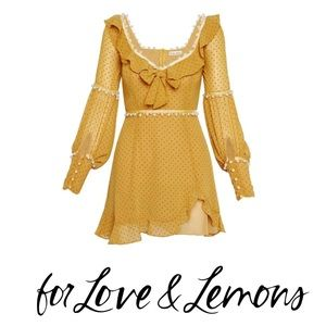 NWT For Love and Lemons Marquee Mustard Mini Dress
